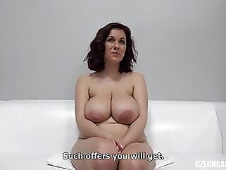 Karolina with big natural tits at Czech casting handjob amateur