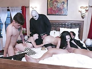 The Adams family brunette blowjob