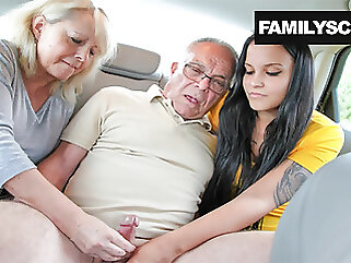 Mother and Daughter Taking Care of Grandpa's Needs fingering blowjob