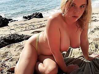 Stepmom on vacation seduces stepson on the beach (POV) beach amateur