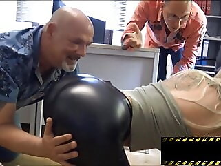 Horny office slut in leggings latex milf