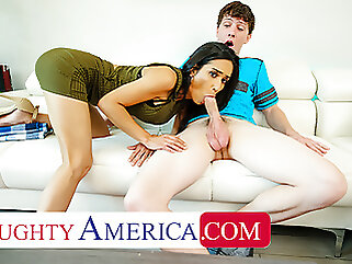 Naughty America - Recently divorced MILF fucks son's friend brunette blowjob