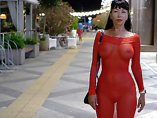 Red transparent dress in public nipples brunette