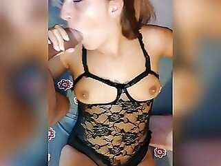 Married woman sucks 2 cocks in open bodysuit blowjob amateur