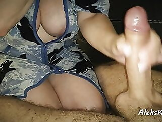 deep blowjob in the kitchen and handjob to orgasm close-up amateur