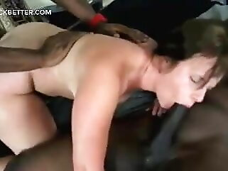 Threesome with 2 blacks for that brunette with a big ass hardcore brunette