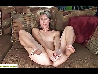 Sexy mature masturbating. sex toy brunette