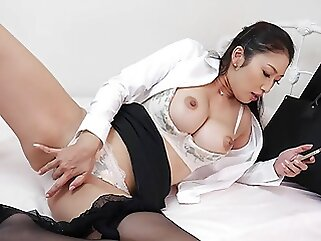 Japanese woman, Reiko Kobayakawa does JOI, uncensored brunette asian