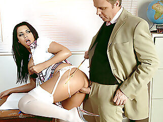 Teacher Seduces Big Clit and Tits Schoolgirl Eva for Rough Sex hardcore blowjob