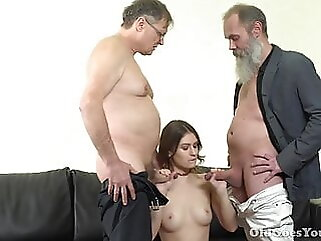 Oldgoesyoung Sofy and two old men pornstar blowjob