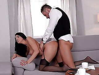 Black Stockings, KIRA QUEEN Gets Hard Fucking on Sofa hardcore brunette