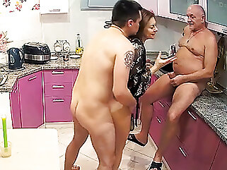 Stepmom Loves Hard Dick in Threesome Sex With Cuckold Husband blowjob amateur