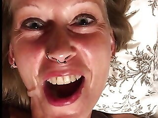 Andrea S. gargeling and swallowing Cum facial amateur