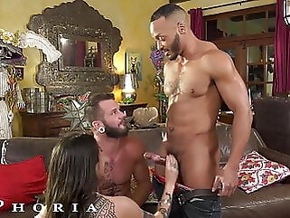 BiPhoria, Lucky Delivery Guy Seduced By Horny Married Couple blowjob anal